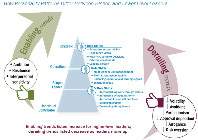 Enabling and derailing behaviors by leadership level